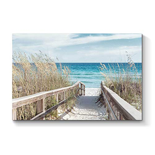 Beach Artwork Seaside Wall Art: Seascape Painting Fence Pathway Picture Print on Canvas for Bedroom (36'' x 24'' x 1 Panel) (Fence Canvas)