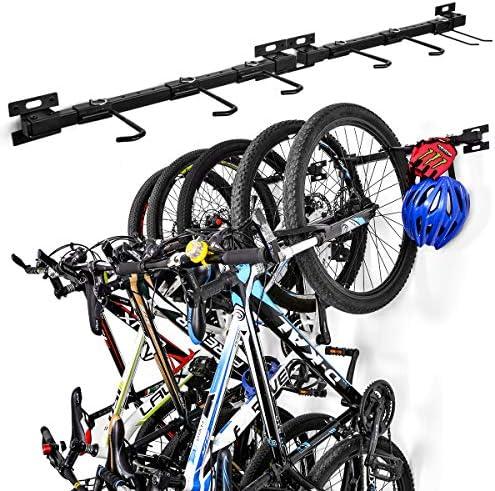 InchMall 自転車収納ラック 折りたたみ式 自転車 壁掛け 自転車ハンガーホルダー 自転車 自転車 収納ラック 5台収納 調節可能なガレージ収納システム 自宅 ガレージ用