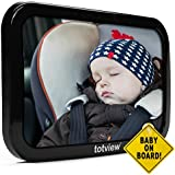 Baby Car Mirror - BEST Backseat Baby Mirror For Rear Facing Car Seats, Essential Accessory For Travel, Plus FREE Baby-On-Board Sign