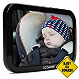 Baby Car Mirror - For Rear Facing Car Seats - Large - Secure Fit Baby Mirror - Easily View Infant In Backseat - Best Newborn Baby Accessory For Travel - Safety Tested + FREE Baby-On-Board Sign