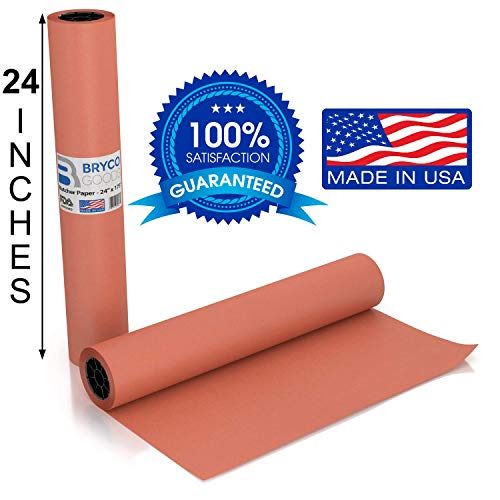 Pink Kraft Butcher Paper Roll - Long 24 Inch x 175 Feet (2100 Inch) - Food Grade FDA Approved - Great Smoking Wrapping Paper for Meat of All Varieties - Made in USA - Unbleached, Unwaxed & Uncoated