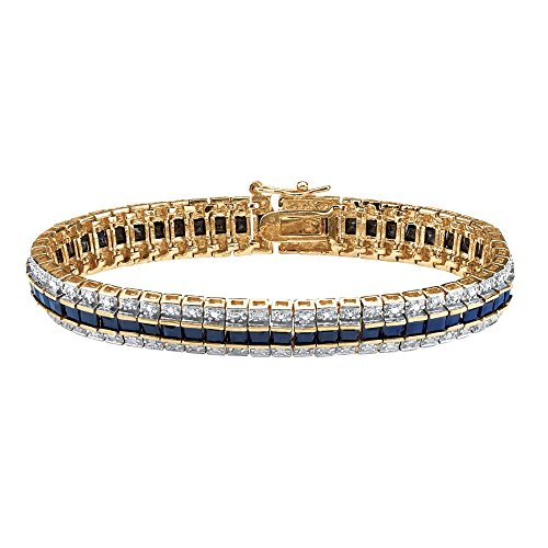 Accent Diamond Sapphire Bracelet - Palm Beach Jewelry 18K Yellow Gold Plated Round Genuine Diamond Accent and Princess Cut Blue Genuine Sapphire Tennis Bracelet, 7 inch