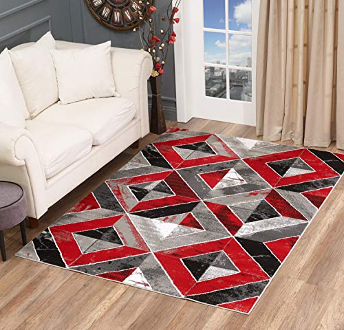 - Golden Rugs Area Rug Abstract Diamond Modern Distressed Carpet Bedroom Living Room Contemporary Dining Accent Sevilla Collection 5504 (5x7, Red)