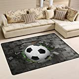 Naanle Sport Area Rug 2'x3', Football Soccer Polyester Area Rug Mat for Living Dining Dorm Room Bedroom Home Decorative