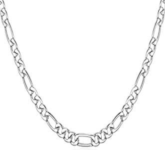 U7 Stainless Steel Figaro Chain Width 3mm-12mm Length 16 Inch to 32 Inch Italian Style Flat Link Necklace for Men and Women, Gift Box Packed