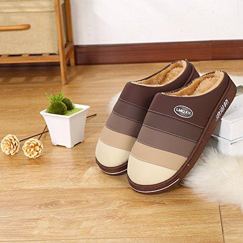 LaxBa Femmes Hommes chauds d'hiver Chaussons peluche antiglisse intérieur Cotton-Padded,290 marron Chaussures Slipper (Convient 44/45)