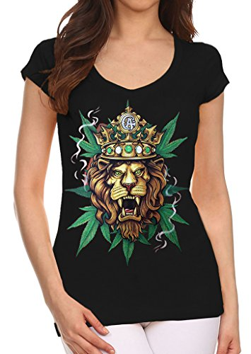 Junior's King of Weed Lion Black V-Neck T-Shirt Large Black