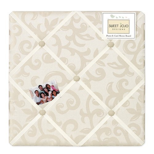 Fabric Photo Board (Sweet Jojo Designs Champagne and Ivory Victoria Fabric Memory/Memo Photo Bulletin Board)