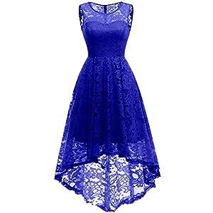 960417afae5db4 MUADRESS 6006 Women s Vintage Floral Lace Sleeveless Hi-Lo Cocktail Formal  Swing Dress M RoyalBlue