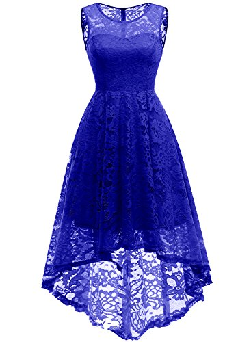 Cocktail Bridesmaids Dresses - MuaDress 6006 Women's Vintage Floral Lace Sleeveless Hi-Lo Cocktail Formal Swing Dress S RoyalBlue