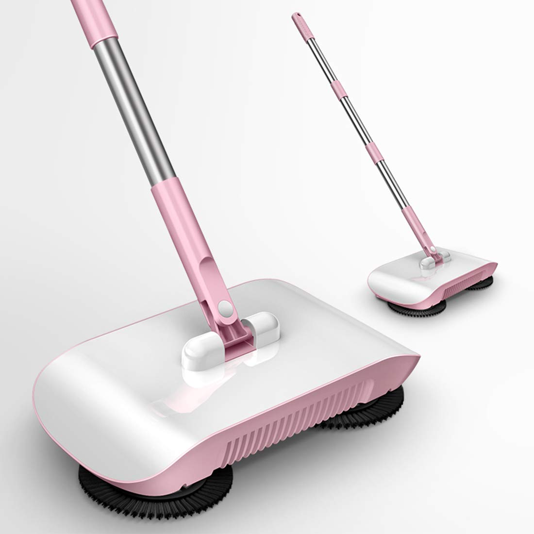Rayzi Household Cleaning 360 Hand Push Automatic Sweeper Broom - Including Broom & Dustpan & Trash Bin - Non Electric for Tile,Marble, and Hardwood, 2 x Cloth (Pink) by Rayzi