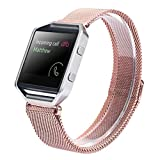 LANDFOX Milanese Magnetic Loop Stainless Steel Bands Strap Bracelet For Fitbit Blaze Pink