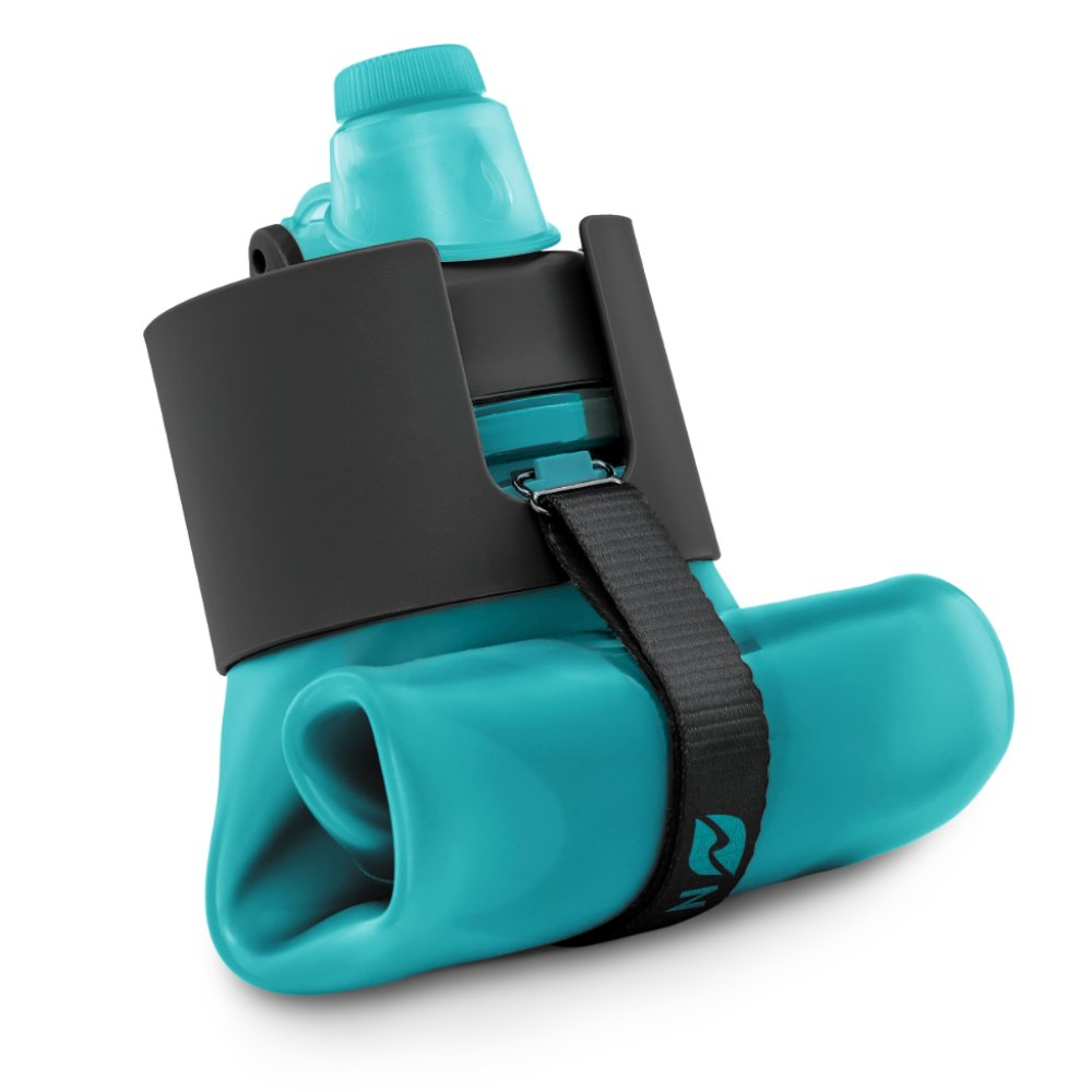 Nomader BPA Free Collapsible Sports Water Bottle - Foldable with Reusable Leak Proof Twist Cap for Travel Hiking Camping Outdoor and Gym - 22 oz (Aqua Blue) by Nomader