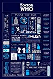 "Doctor Who - TV Show Poster (Infographic - Facts, Logos, Icons & Quotes) (Size: 24"" x 36"")"