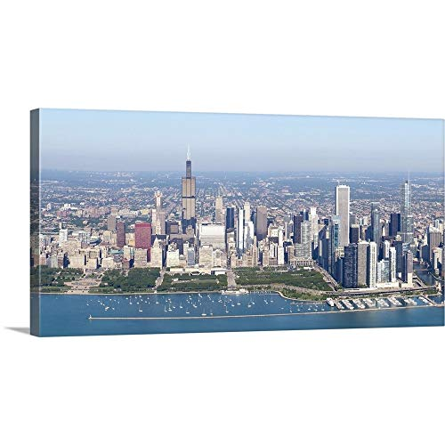 GREATBIGCANVAS Gallery-Wrapped Canvas Entitled Trump International Hotel and Tower, Willis Tower, Chicago, Illinois by 60