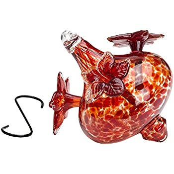 Best Home Products Blown Glass Hummingbird Feeder, Red Bouquet Cap, 24 Ounces