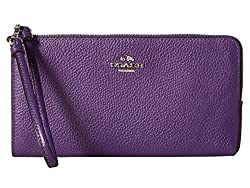 COACH Women's Bicolor Polished Pebble Zip Wallet SV/Violet Clutch
