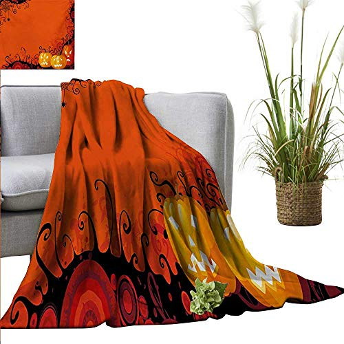 AndyTours Camping Blanket,Spider Web,Three Halloween Pumpkins Abstract Black Web Pattern Trick or Treat,Orange Marigold Black,Flannel Blankets Made with Plush Microfiber -