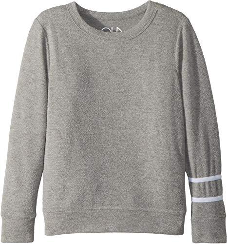 Chaser Kids Boy's Soft Love Knit Pullover Sweater Stripes (Little Kids/Big Kids) Heather Grey/White 7 by Chaser Kids