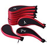 Set of 10 Zip-Up Golf Club Iron & Wedge Head Covers Sports Protective Cover Set