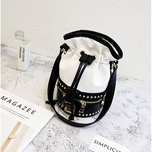 Hobo Bags Shoulder Messenger White Crossbody Bag New Rivet Tote Purse JAGENIE White Handbag Women zaffCq