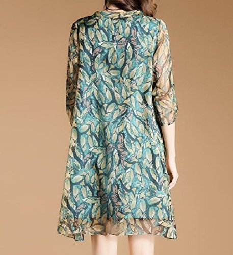 Plus Dress Relaxed Vogue Women Size Chiffon Silk Picture As Party Fit Coolred Floral C1xg50wv0q