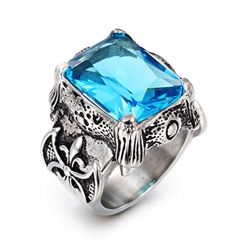 NELSON KENT Men's Retro Inlaid Blue Zircon Titanium Steel Silver Ring Size ()