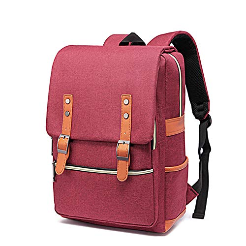 Men's Backpack Laptop Backpack for 15 Inch Laptop with Waterproof Nylon for Men and Women Casual Laptop Bag Travel Laptop Backpack (Color : Red)