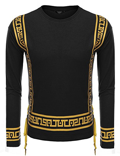 Coofandy Mens Hipster Hip Hop African Dashiki Printed Long Sleeve Top Tee T Shirts Black (Printed Hipster)