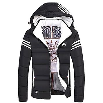 Abrigo de invierno para hombres encapuchados Abrigo invierno tendencia collar grueso camisa casual, negro: Amazon.es: Deportes y aire libre
