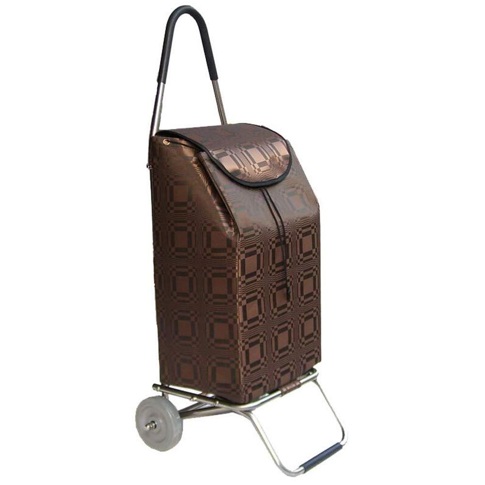 ZHAOHUI ショッピングカート 折りたたみ可能 ステンレス鋼管 防水サテン生地 耐摩耗性 ベアリングミュートホイール 高容量、 荷重40kg、 5色 (色 : Brown) B07JWGJZ32 Brown
