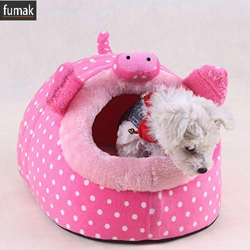 Fumak Design Cute Cartoon Princess Dog Beds House Indoor Soft Fleece Winter Warm Pet Nest Beds cama para cachorro (S, Pink)