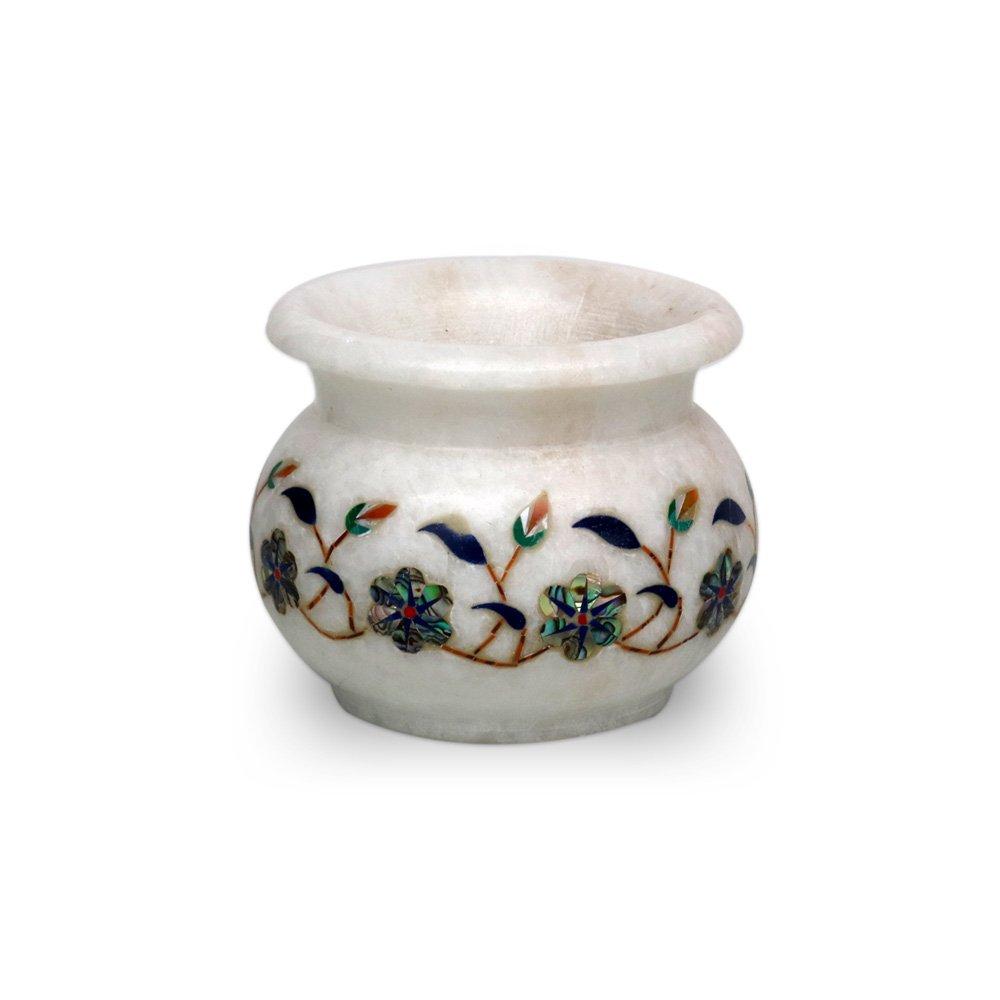 Taj Gallery White Marble Decorative Pot With Inlay Work