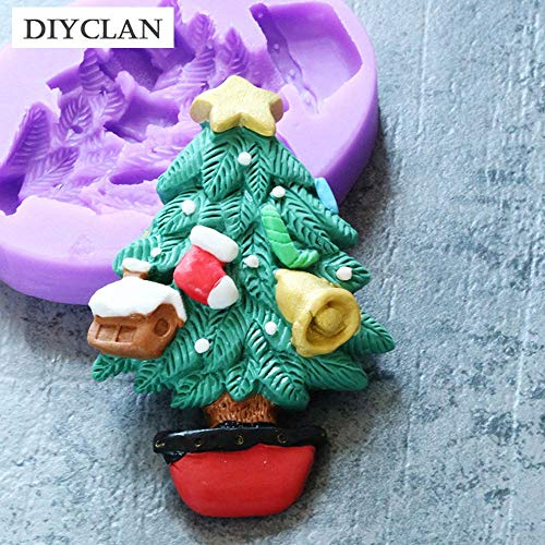 (1 piece Christmas Tree shape silicone fondant mold Xmas style cupcake chocolage cake decoration molds polymer clay resin form baking)