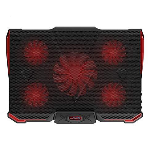 TINKSKY USB Laptop Cooling Pad 5 Fans Cooler Stand Multi-Angle Adjustable External Coolpad Cooler Base Heatsink Bracket Fan Mat (Red) ()