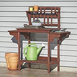 Wood Potting Bench with Storage — Brown