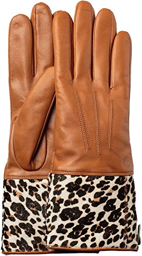 UGG Women's Animal Skin Smart Leather Gloves Tan Leopard MD by UGG