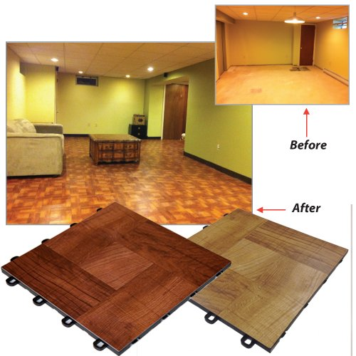 Basement Interlocking Laminate Tiles   Red Wood   27 Sq.ft.   Ceramic Tiles    Amazon.com