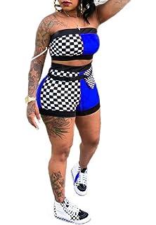 9512f3d3c107 Remelon Women Sexy Plaid Print Tube Crop Top Belt Shorts Set 2 Piece  Outfits Romper Jumpsuits