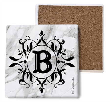 SJT ENTERPRISES, INC. Initial/Letter Marble Texture Coasters -B Absorbent Stone Coasters, 4-inch (4-Pack) (SJT96807)