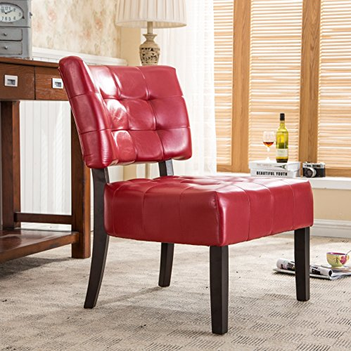 Red Leather Living Room (Roundhill Furniture Blended Leather Tufted Accent Chair with Oversized Seating, Red)