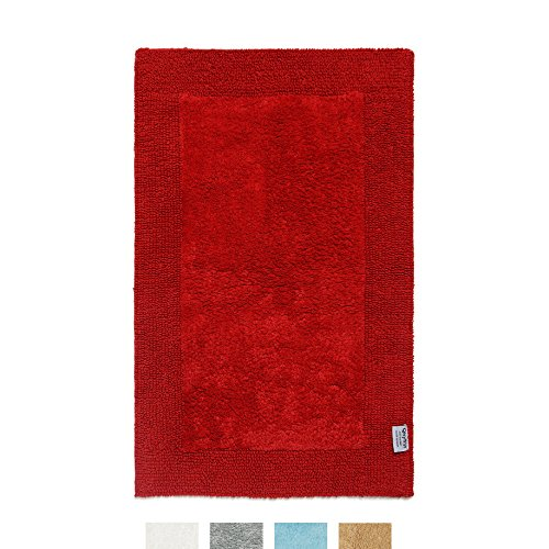 "Bath Mat Reversible 100% Premium Cotton 1900 GSM Size 21""x34"" Bathroom Mats QLTYFRST Luxurious Bath Rug Extra Plush Absorbent Red (Mats Bath Reversible)"