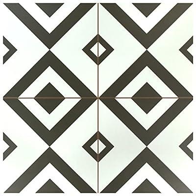 """SomerTile FPEBXT 17.63"""" x 17.63"""" Ashford Ceramic Floor & Wall Tile, Charcoal/White"""