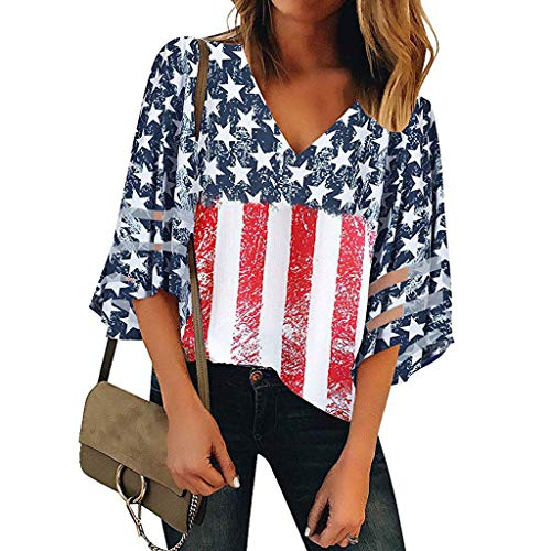 Pongfunsy Women's Summer Tops, Women's 3/4 Bell Sleeve Shirt Loose Casual Mesh Panel Blouse Trendy Patchwork Top 2019 (L, Red 4)