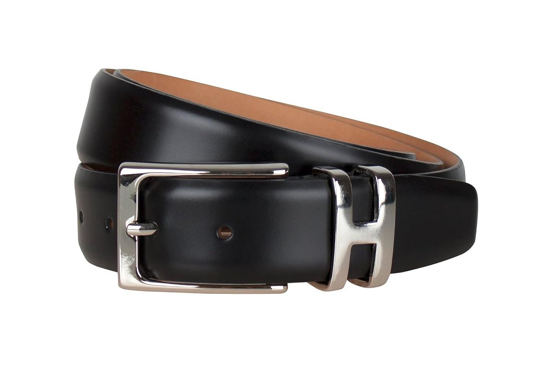 Leder-Gürtel für Herren in Hochglanz schwarz: 100 % Kalbsleder, Gürtel-Schnalle nickelfrei, hergestellt in Handarbeit, ideal als Jeans-Gürtel, Anzug-Gürtel - Vollleder Hosen-Gürtel