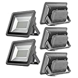 Beisaqi Cool White 200W SMD 5730 LED Floodlight, IP65 Waterproof Security Lights for Home,Garden,Garage, Pack of 5