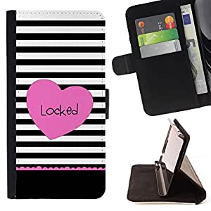 VALENTINES LINES BLACK LOCKED HEART PINK/ Personalizada del estilo del dise???¡Ào de la PU Caso de encargo del cuero del tir????n del soporte d - Cao - For Apple Iphone 4 / 4S