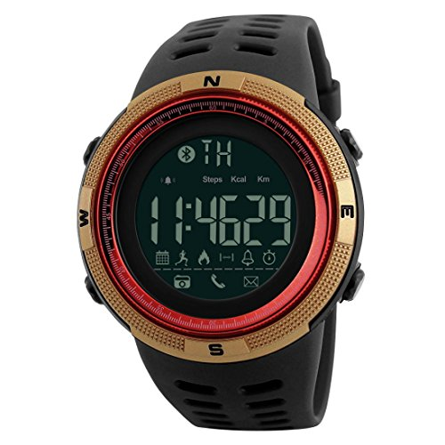 Price comparison product image HP95 Digital Smart Watch, for SKMEI 1250 Waterproof Bluetooth Smart Watch with Phone Fitness Tracker Wristwatch (Red)