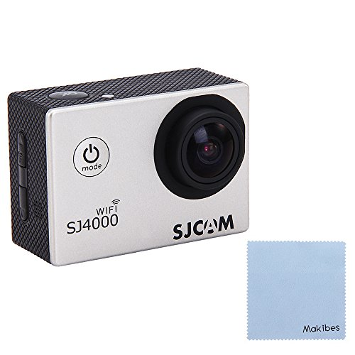 SJCAM Original SJ4000 WiFi Action Camera 12MP 1080P H.264 1.5 Inch 170° Wide Angle Lens Waterproof Diving HD Camcorder Car DVR with Free Makibes Cleaning Cloth (Silver) Action Cameras SJCAM