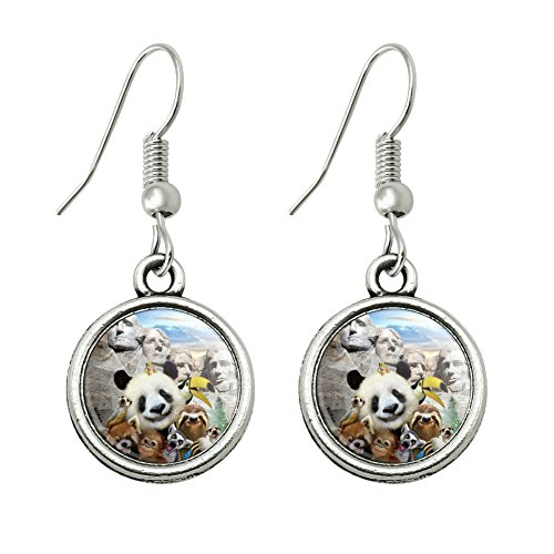 (GRAPHICS & MORE Mount Mt. Rushmore National Memorial South Dakota Panda Sloth Novelty Dangling Drop Charm Earrings)